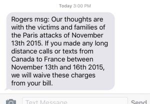 Rogers long distance calls texts Canada France